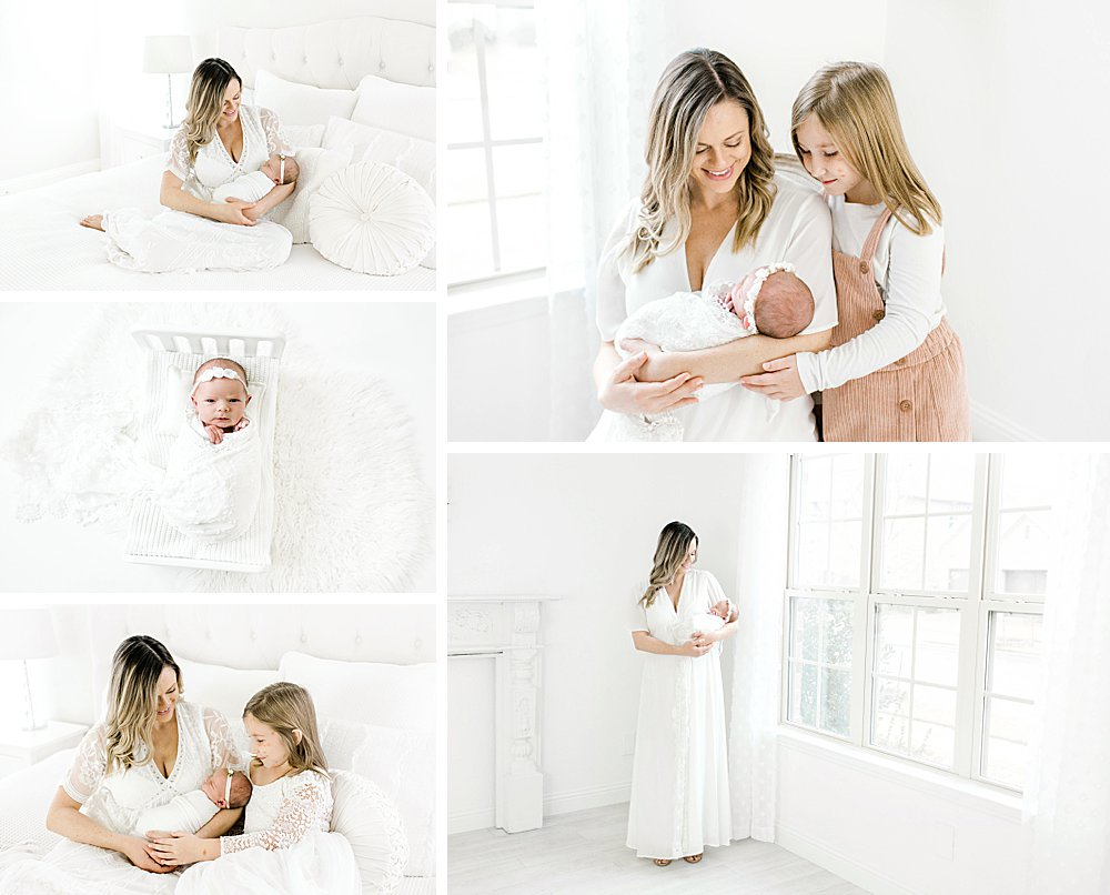 Mom with Daughters I Newborn Session
