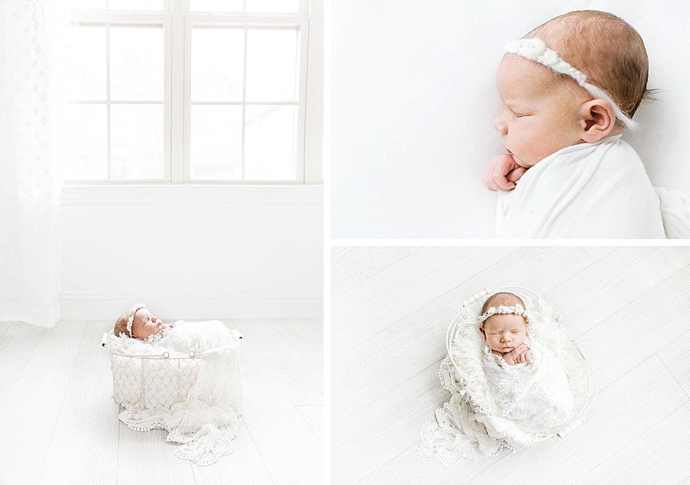 Newborn Girl in White Studio