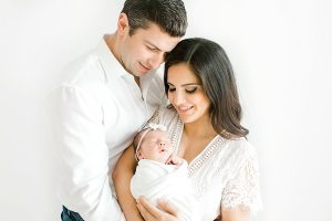 Parents in Studio with Newborn Baby Girl
