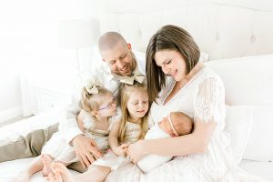 Newborn session with three sisters